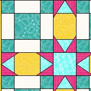 quilt with secondary block in sashing