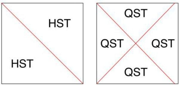 half and quarter square Triangles